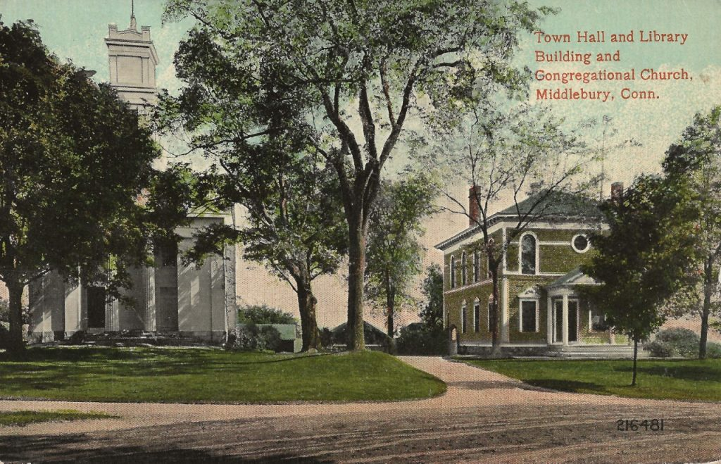 This post card from 1924 shows the second meeting house and adjacent Town Hall. Both were destroyed in the fire of 1935 and rebuilt along similar lines.